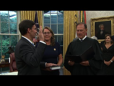 Mark Esper has been sworn in as the next U.S. defense secretary, ending the longest period in Pentagon history that it has gone without a confirmed leader. (July 23)