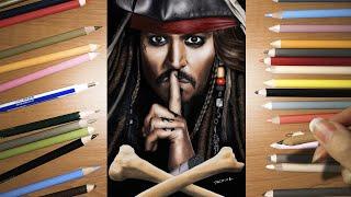 Speed Drawing: Johhny Depp As Captain Jack Sparrow In Dead Men Tell No Tales Movie | Jasmina Susak