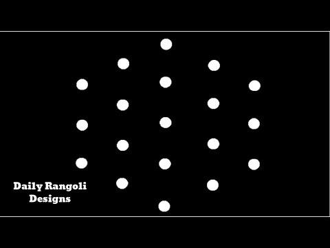 Cute Simple Kolam Designs | Easy Rangoli Muggulu 5X3 Dots | Easy Simple Rangoli Kolangal Art #1063