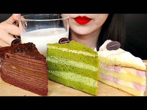 ASMR STARBUCKS CAKES 스타벅스 케이크 먹방 NO TALKING EATING SOUNDS MUKBANG