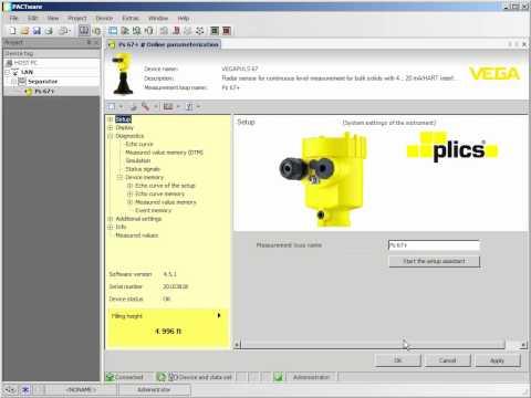 """Diagnostics - """"VEGA DTM asset management"""" PULS RADAR - PLICS Plus"""