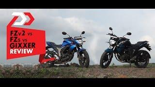 Yamaha FZ FI v2.0 vs v1.0 vs Suzuki Gixxer Review l PowerDrift