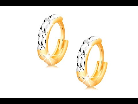 Schmuck - Ohrringe aus 14K Gold - Creolen mit glanzvoller Verzierung und Weißgold