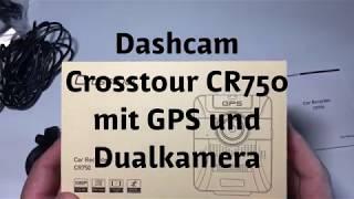 Dual Kamera Dashcam mit GPS 1080P + 720P Autokamera Crosstour CR750