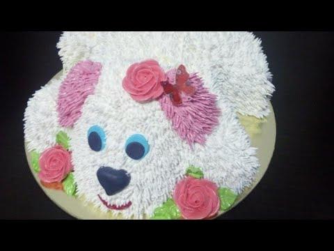Как создать кремовый декор торта собака