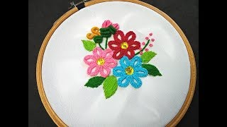 Hand Embroidery Designs | Buttonhole Bar Stitch Flower Embroidery Tutorial | Brazilian Embroidery