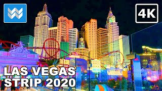 Las Vegas Strip At Night - 2020 Virtual Walking Tour - Treadmill Workout Video 🎧 Binaural Sound【4K】