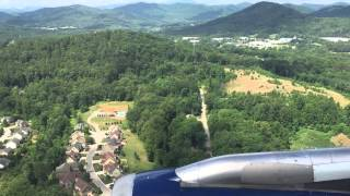 Delta Airbus A319 landing at Asheville Regional Airport