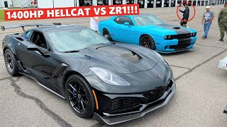 Guy in a TWIN TURBO Hellcat Talks Sh*t on my 1,000HP ZR1... So I Showed Up to His Race LOL