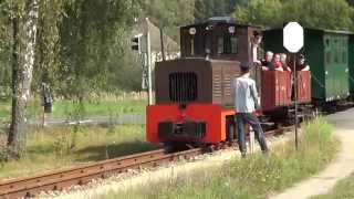 preview picture of video 'Waldeisenbahn Muskau, Zugkreuzung an der Baierweiche'