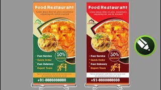 How To Design Professional Roll Up Banner Corel draw v21 | Modern Standee Design & Printing