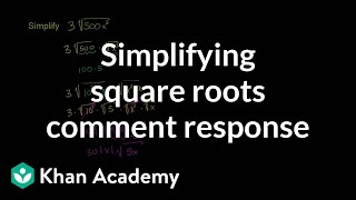 Simplifying Square Roots Comment Response