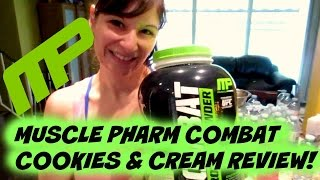 Cookies & Cream Tasty Muscle Pharm Combat Protein Powder Review | Nicole Collet