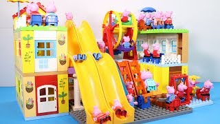 Peppa Pig Family Lego House Creations With Water Slide Toys #6
