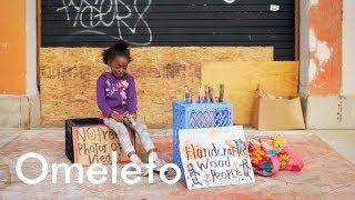 A homeless 7-year-old who lives on the beach makes and sells