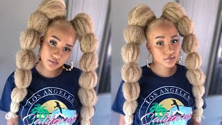 CHEAP & EASY!!!| TWO BLONDE BUBBLE PONYTAILS W/MARLEY HAIR & RUBBERBANDS