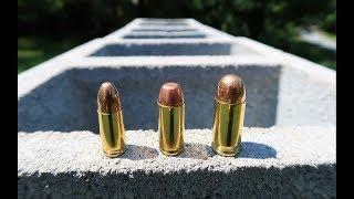 9mm vs .40 Cal vs .45 ACP - Cinder Block Test
