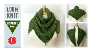 LOOM KNIT Scarf On Round Loom Triangle Shawl Prayer | Loomahat