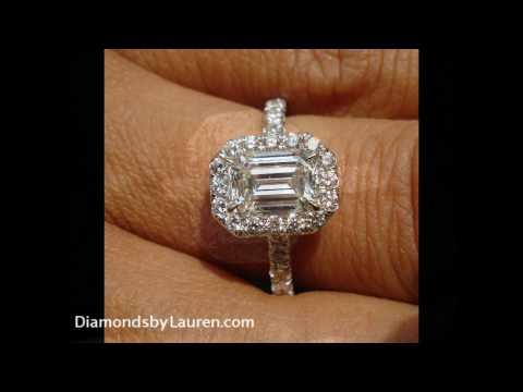 1.08 H VS1 Emerald Cut Diamond Halo Ring - Exceptional!