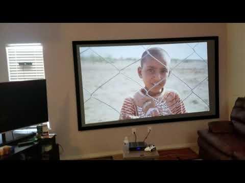 "Epson 1060 compare Viewsonic PX747 4k projector 120"" screen dark gray mix."