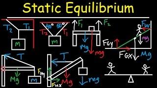 Static Equilibrium - Tension, Torque, Lever, Beam, & Ladder Problem - Physics