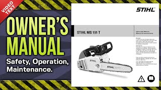 Owner's Manual: STIHL MS 191 T Chain Saw