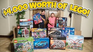 $4,000 WORTH OF LEGOS!!! World's Biggest LEGO Set, 2 Gold Play Buttons, Mail Opening + GIVEAWAY!