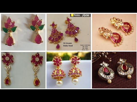 Top Trending And Classy Ruby Earrings/ Short and Long Length Gold Ruby Earrings Collection