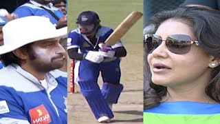 Chiranjeevi Sarja Enjoying Karnataka Bulldozers Dominate Over Lizzy Priyan's Kerala Strikers in CCL