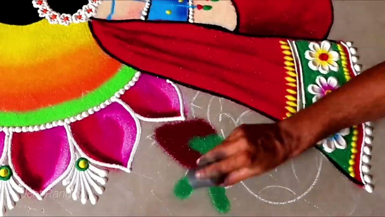 wedding rangoli woman holding lamp big colorful by jeet rangoli