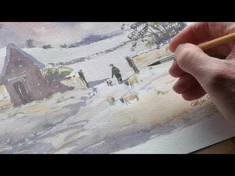 Thumbnail of How to paint sheep, a sheep dog and figure into your snow scene. #colinsteedart