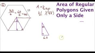 Area Of A Regular Polygon Given Side Length - Using Special Triangles