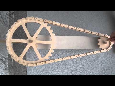 Großer Holzkettenantrieb aus Birkensperrholz - eine Wanddeko
