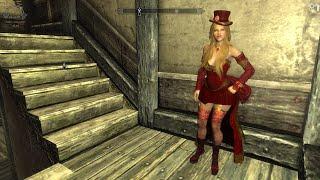 Skyrim DEM Burlesque Overhaul outfit, modeled by New Hroki Replacer follower