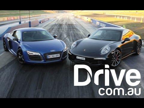 Audi R8 V10 Plus v Porsche Carrera 4S | Drag Race | Drive.com.au