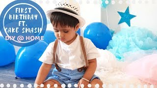 FIRST BIRTHDAY PHOTOSHOOT At Home | DIY Ideas For Baby Boy | INDIAN NRI Family Celebrations