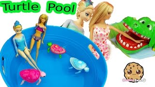 Disney Frozen Queen Elsa & Barbie Doll Swim In Water Pool with Little Live Pets Sea Turtles