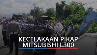 Mitsubishi L300 Ringsek, Coba Hindari Sepeda Motor Justru Hantam Truk, Warga Penumpang Luka Berat