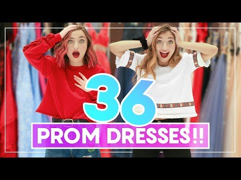 WE TRiED ON 36 PROM DRESSES! Can You Guess Our Favorites?