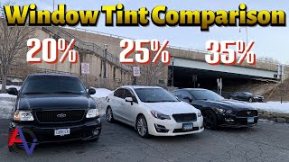 How it Looks to Have 35%, 25%, and 20% Window Tint! | Side by Side Comparison