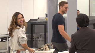Justin Hartley Invites Paparazzo To Kiss Him While Catching Flight With Fiance Chrishell