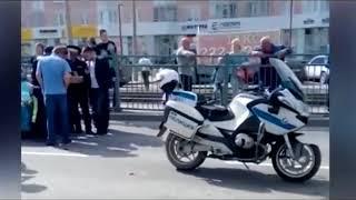 Сбили полицейского на мотоцикле