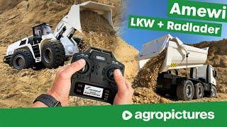 Amewi Radlader und LKW im Test | Schnellwechsler für Vollmetall Bagger | RC Baumaschinen