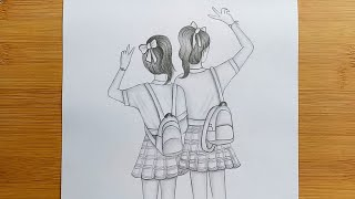 Friendship Day Drawing With Pencil Sketch//Draw School Going Girls Step By Step