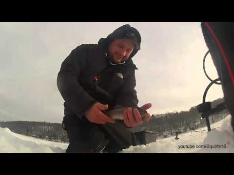 Ice fishing CT Squantz Pond (laughs)
