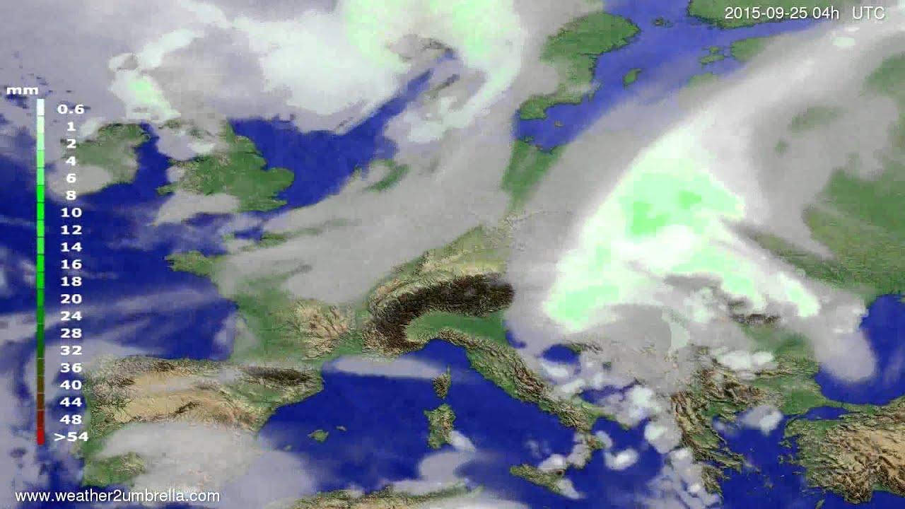 Precipitation forecast Europe 2015-09-21