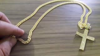 6b50e097bddcf Cordão Elos Duplos 60cm 4mm Pingente Cruz Cravejada na Zirconia Banhado a ouro  18k