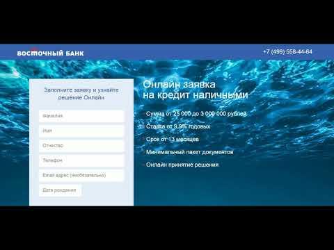Онлайн заявка на кредит наличными. Кредитная карта от Восточный Банк. Обзор и отзывы.