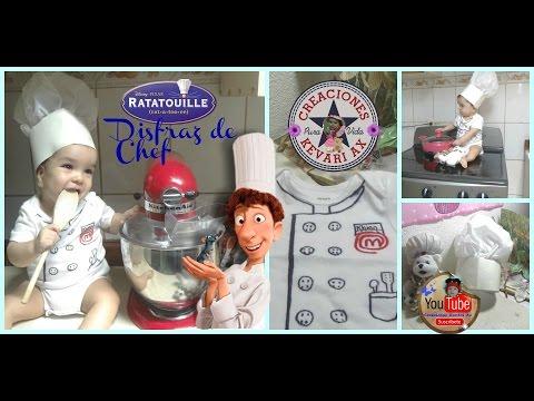 Disfraz de Chef casero fácil Ratatouille/ Gorro o sombrero de Cocinero