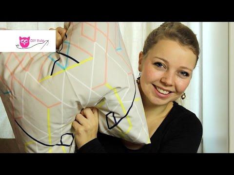 Kissenbezug mit Hotelverschluss selber nähen - DIY Eule